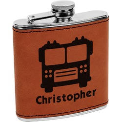 Firetrucks Leatherette Wrapped Stainless Steel Flask (Personalized)