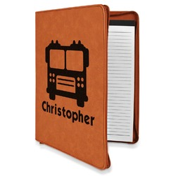 Firetrucks Leatherette Zipper Portfolio with Notepad (Personalized)