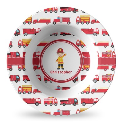 Firetrucks Plastic Bowl - Microwave Safe - Composite Polymer (Personalized)