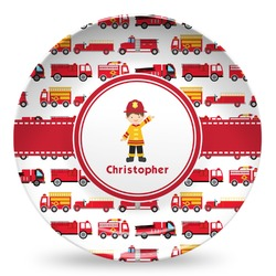 Firetrucks Microwave Safe Plastic Plate - Composite Polymer (Personalized)