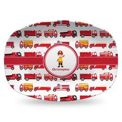 Firetrucks Plastic Platter - Microwave & Oven Safe Composite Polymer (Personalized)