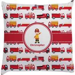 Firetrucks Decorative Pillow Case (Personalized)