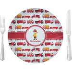 """Firetrucks Glass Lunch / Dinner Plates 10"""" - Single or Set (Personalized)"""