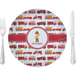 """Firetrucks 10"""" Glass Lunch / Dinner Plates - Single or Set (Personalized)"""