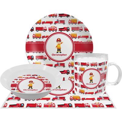 Firetrucks Dinner Set - Single 4 Pc Setting w/ Name or Text