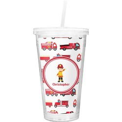 Firetrucks Double Wall Tumbler with Straw (Personalized)