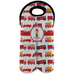 Firetrucks Wine Tote Bag (2 Bottles) (Personalized)