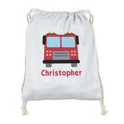 Firetrucks Drawstring Backpack - Sweatshirt Fleece (Personalized)