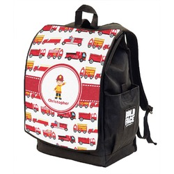Firetrucks Backpack w/ Front Flap  (Personalized)