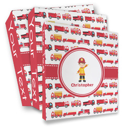 Firetrucks 3 Ring Binder - Full Wrap (Personalized)
