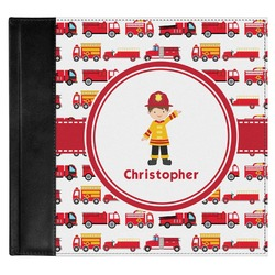 Firetrucks Genuine Leather Baby Memory Book (Personalized)