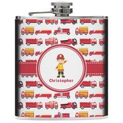 Firetrucks Genuine Leather Flask (Personalized)