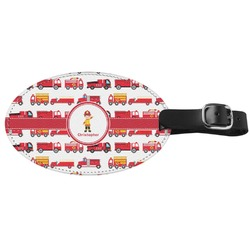 Firetrucks Genuine Leather Oval Luggage Tag (Personalized)
