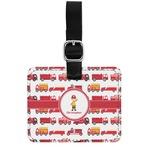 Firetrucks Genuine Leather Rectangular  Luggage Tag (Personalized)