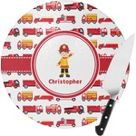 Firetrucks Round Glass Cutting Board (Personalized)