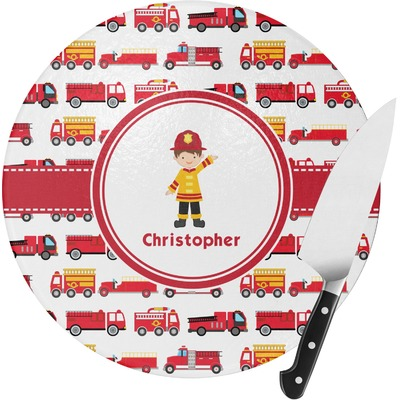 Firetrucks Round Glass Cutting Board - Medium (Personalized)