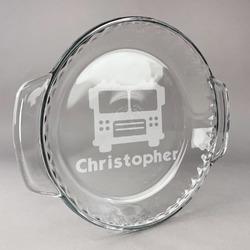 Firetrucks Glass Pie Dish - 9.5in Round (Personalized)