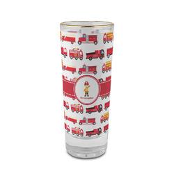 Firetrucks 2 oz Shot Glass - Glass with Gold Rim (Personalized)