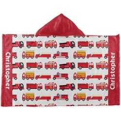 Firetrucks Kids Hooded Towel (Personalized)