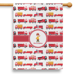 """Firetrucks 28"""" House Flag - Double Sided (Personalized)"""