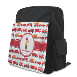 Firetrucks Kid's Backpack with Customizable Flap (Personalized)