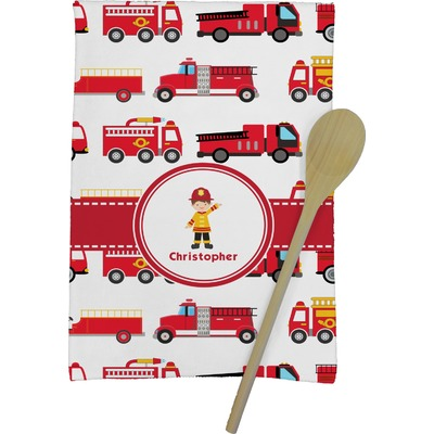 Firetrucks Kitchen Towel - Full Print (Personalized)