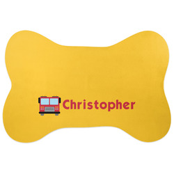 Firetrucks Bone Shaped Dog Food Mat (Personalized)