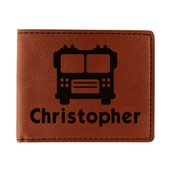 Firetrucks Leatherette Bifold Wallet - Double Sided (Personalized)