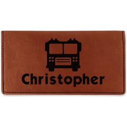 Firetrucks Leatherette Checkbook Holder - Double Sided (Personalized)