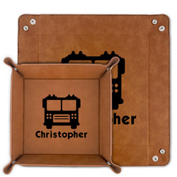 Firetrucks Faux Leather Valet Tray (Personalized)