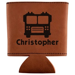 Firetrucks Leatherette Can Sleeve (Personalized)