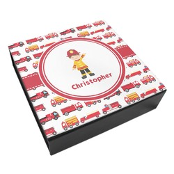 Firetrucks Leatherette Keepsake Box - 8x8 (Personalized)