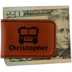 Firetrucks Leatherette Magnetic Money Clip - Single Sided (Personalized)