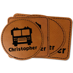 Firetrucks Faux Leather Iron On Patch (Personalized)