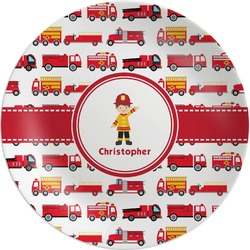 Firetrucks Melamine Plate (Personalized)