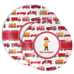 Firetrucks Melamine Plate (Personalized)