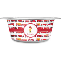 Firetrucks Stainless Steel Dog Bowl (Personalized)