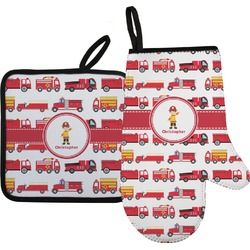 Firetrucks Oven Mitt & Pot Holder Set w/ Name or Text