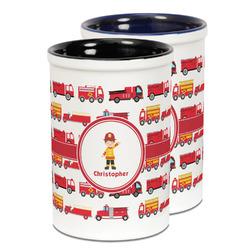 Firetrucks Ceramic Pencil Holder - Large