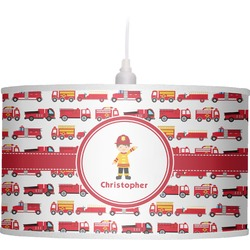 Firetrucks Drum Pendant Lamp Linen (Personalized)