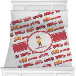 "Firetrucks Fleece Blanket - Twin / Full - 80""x60"" - Double Sided (Personalized)"
