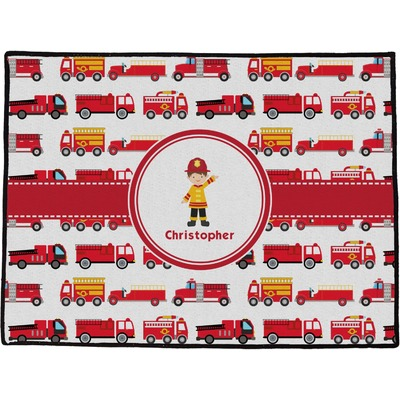 "Firetrucks Door Mat - 24""x18"" (Personalized)"