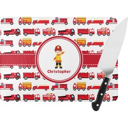 Firetrucks Rectangular Glass Cutting Board (Personalized)