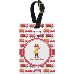 Firetrucks Rectangular Luggage Tag (Personalized)