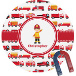 Firetrucks Round Magnet (Personalized)