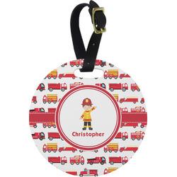 Firetrucks Round Luggage Tag (Personalized)