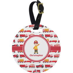 Firetrucks Plastic Luggage Tag - Round (Personalized)