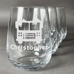 Firetrucks Stemless Wine Glasses (Set of 4) (Personalized)