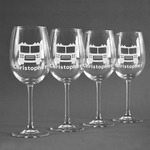 Firetrucks Wine Glasses (Set of 4) (Personalized)