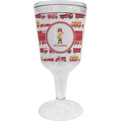 Firetrucks Wine Tumbler - 11 oz Plastic (Personalized)
